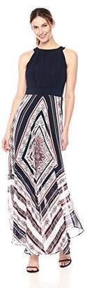 Sandra Darren Women's 1 PC Sleeveless Solid ITY & Printed Chiffon Maxi Dress