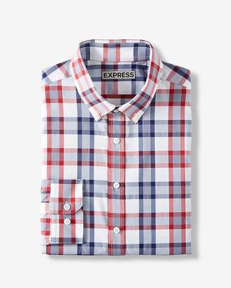 Express Slim Plaid Button Collar Wrinkle-Resistant Performance Dress Shirt