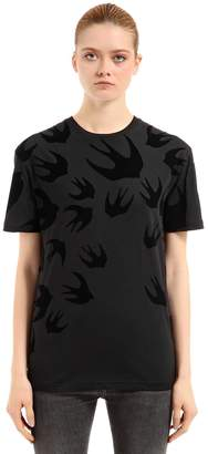 McQ Swallow Flocked Cotton Jersey T-Shirt