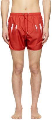 Neil Barrett Red Lightning Bolt Wings Swim Shorts