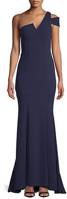 Betsy & Adam One-Shoulder Crepe Gown