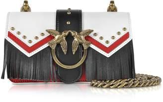 Pinko Mini Love Tricolor Leather Fringed Shoulder Bag