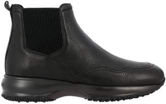 Hogan Flat Booties Chelsea Interactive Sneakers In Leather With Elastic Bands