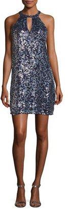 Parker Sansa Sleeveless Sequined Shift Dress, Blue $448 thestylecure.com