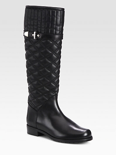 Stuart Weitzman Copilot Quilted Leather Riding Boots