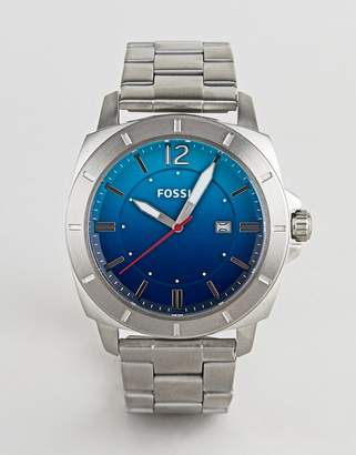 Fossil BQ2344 mens stainless steel watch with blue dial