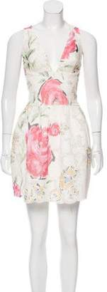 Ermanno Scervino Silk & Lace Floral Print Dress