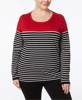 Karen Scott Plus Size Striped Sweater, Created for Macy's