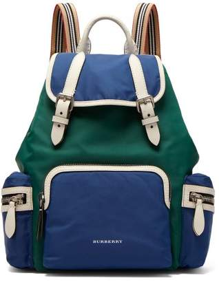 Burberry Medium Nylon Rucksack - Womens - Blue Multi