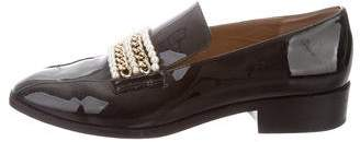 Bettye Muller Patent Leather Chain-Link Loafers