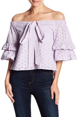 Romeo & Juliet Couture Off-the-Shoulder Eyelet Knit Blouse