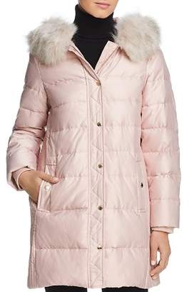 Kate Spade Faux Fur Trim A-Line Puffer Coat