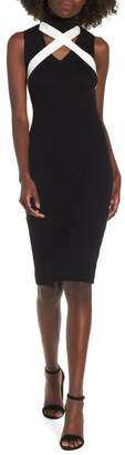 LOST INK Tie Neck Bodycon Dress