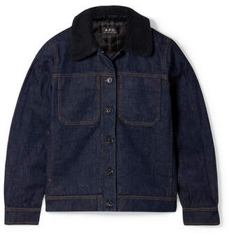 A.P.C. Faux Shearling-trimmed Denim Jacket - Dark denim