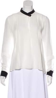 Agnona Sheer Silk Long Sleeve Blouse