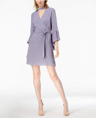 Bar III Choker Bell-Sleeve Wrap Dress, Created for Macy's