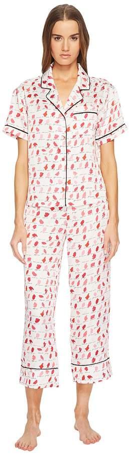 Kate Spade New York - Lipstick Cropped Pajama Set Women's Pajama Sets