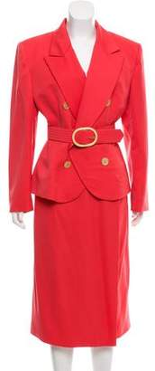 Christian Dior Notch-Lapel Double-Breasted Skirt Suit