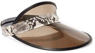 Rag & Bone Vegas Snake-effect Leather-trimmed Pvc Visor - Gray