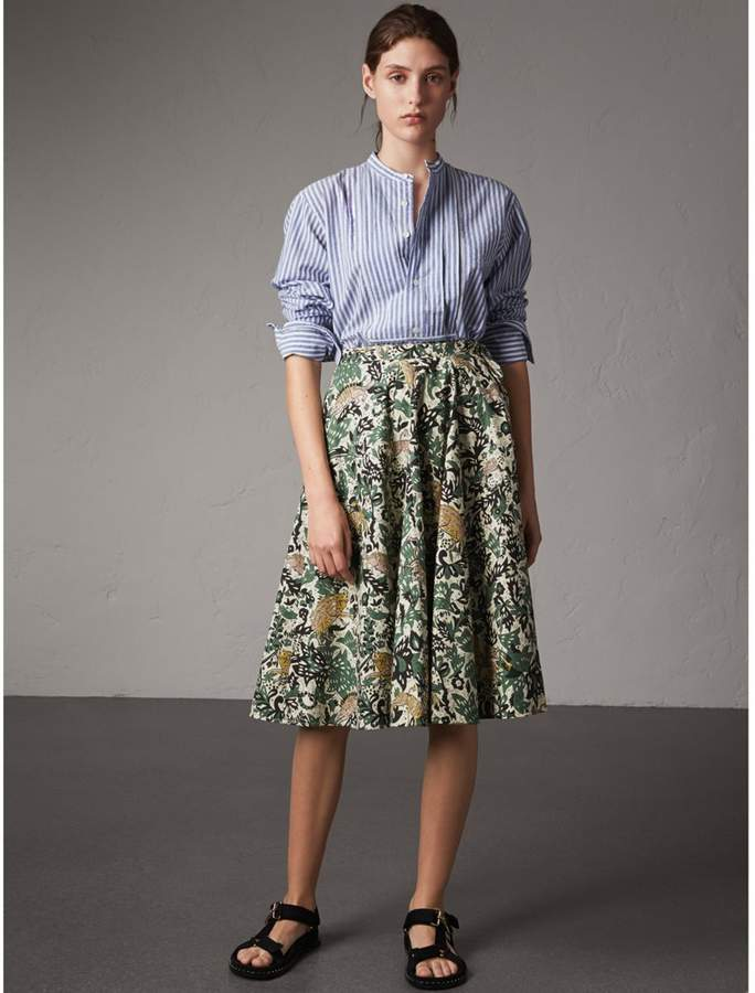 Burberry Beasts Print Cotton Wrap Skirt