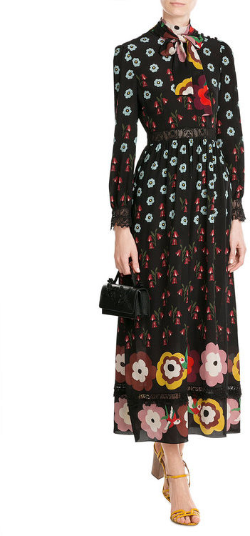 RED Valentino R.E.D. Valentino Printed Silk Chiffon Dress with Lace