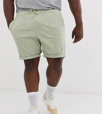 Asos Design DESIGN Plus slim chino shorts with elastic waist in light green