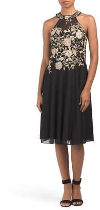 Halter Embroidered Dress