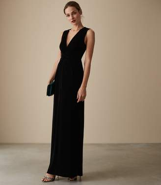 Reiss VERONIQUE VELVET TWIST FRONT MAXI DRESS Black