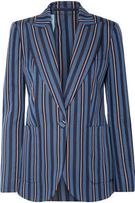 Burberry Striped Wool-blend Blazer - Navy