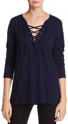 Michael Stars Lace-Up V-Neck Thermal Top