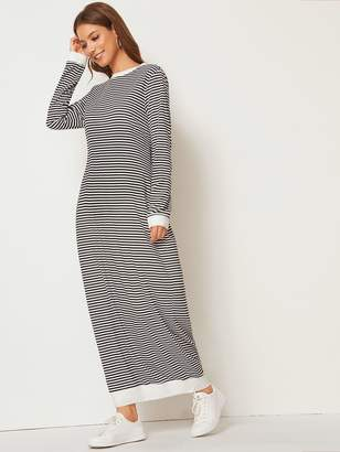 Shein Long Sleeve Striped Maxi Dress