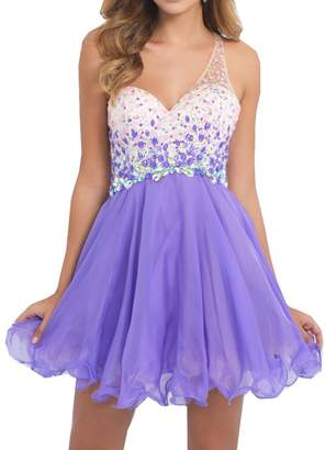 Half Flower Bridal Purple Short Prom Dress One Shoulder Rhinestone Homecoming Dress for Junior