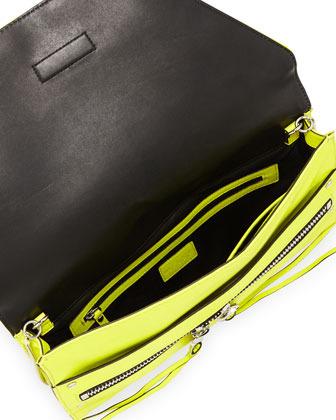 Milly Riley Kidskin Clutch Bag, Limeade