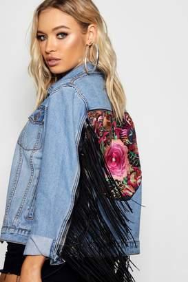 boohoo Tally Tapestry Back Tassel Sleeve Denim Jacket