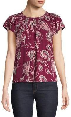 Style&Co. Style & Co. Petite Printed Pleated-Neck Top