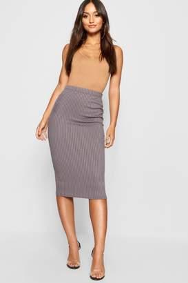 boohoo Petite Jumbo Rib Midi Skirt