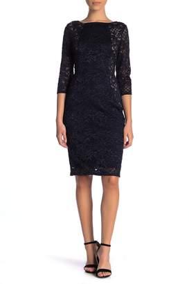 Marina Sparkly Floral Lace Midi Sheath Dress (Petite)