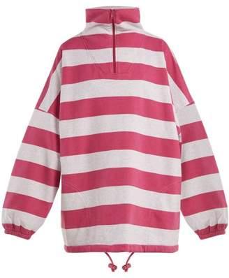 Balenciaga Striped Cotton Blend Top - Womens - Pink Multi