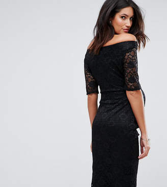 Asos PETITE Bardot Dress with Half Sleeve in Lace