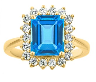 Premier 3.20cttw Emerald-Cut Blue Topaz DiamondRing, 14K