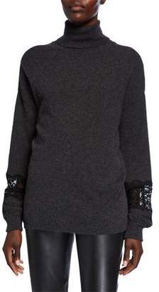 Neiman Marcus Cashmere Turtleneck Blouson-Sleeve Sweater with Lace Insets