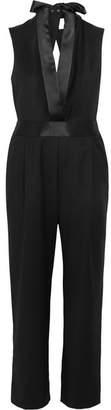 Dion Lee Open-back Satin-trimmed Wool-crepe Jumpsuit - Black
