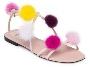 Fendi Mink Fur Pom-Pom Sandals