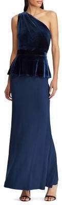 Lauren Ralph Lauren Velvet-Trim One-Shoulder Gown