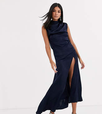 Asos Tall DESIGN Tall high neck washed satin midi with cowl back