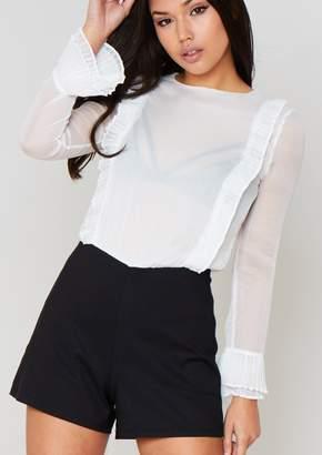 f5e885c6dc Missy Empire Missyempire Saskia White Long Sleeved Sheer Playsuit