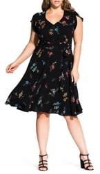 City Chic Botanical Print Dress