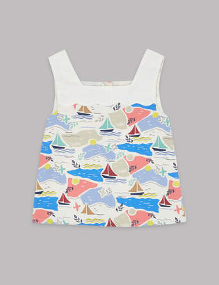 AutographMarks and Spencer Pure Cotton Sail Boat Print Top (3-16 Years)