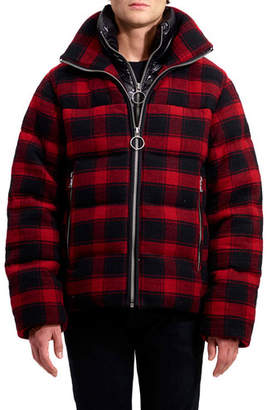 Buffalo David Bitton The Very Warm Men's Crosby Flannel Down-Filled Wool Puffer Coat, Plaid