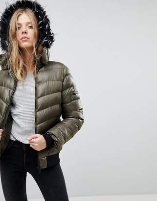 Qed London QED London Short Padded Jacket With Hood